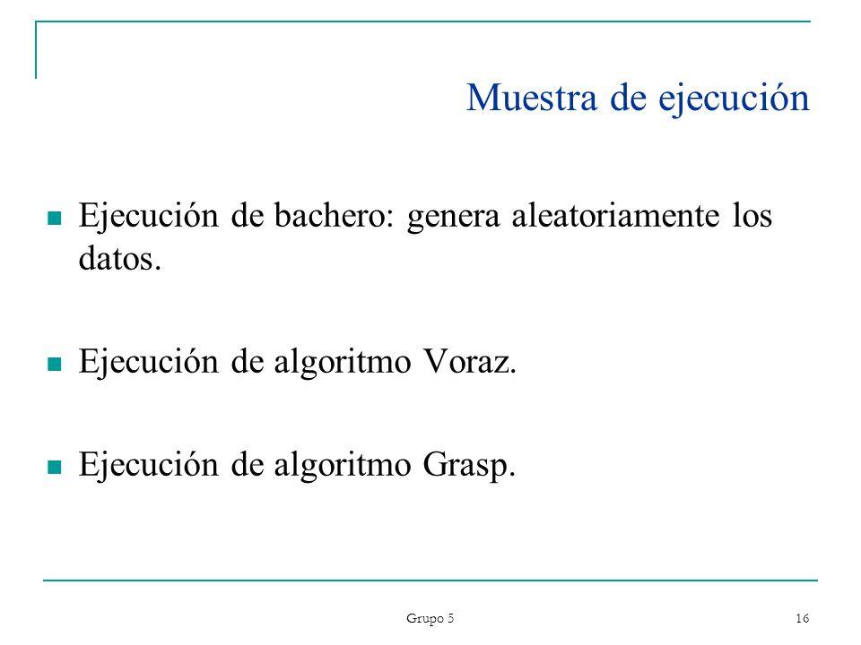 Grupo 5 16 Muestra de ejecución Ejecución de bachero: genera aleatoriamente los datos. Ejecución de algoritmo Voraz. Ejecución de algoritmo Grasp.