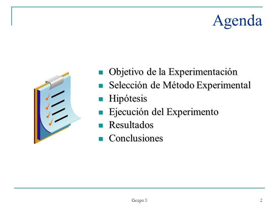 Grupo 5 2 Agenda Objetivo de la Experimentación Objetivo de la Experimentación Selección de Método Experimental Selección de Método Experimental Hipót