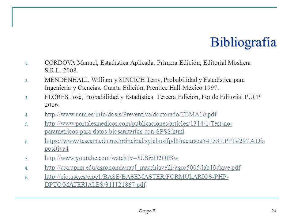 Grupo 5 24 Bibliografía 1. CORDOVA Manuel, Estadística Aplicada. Primera Edición, Editorial Moshera S.R.L. 2008. 2. MENDENHALL William y SINCICH Terry