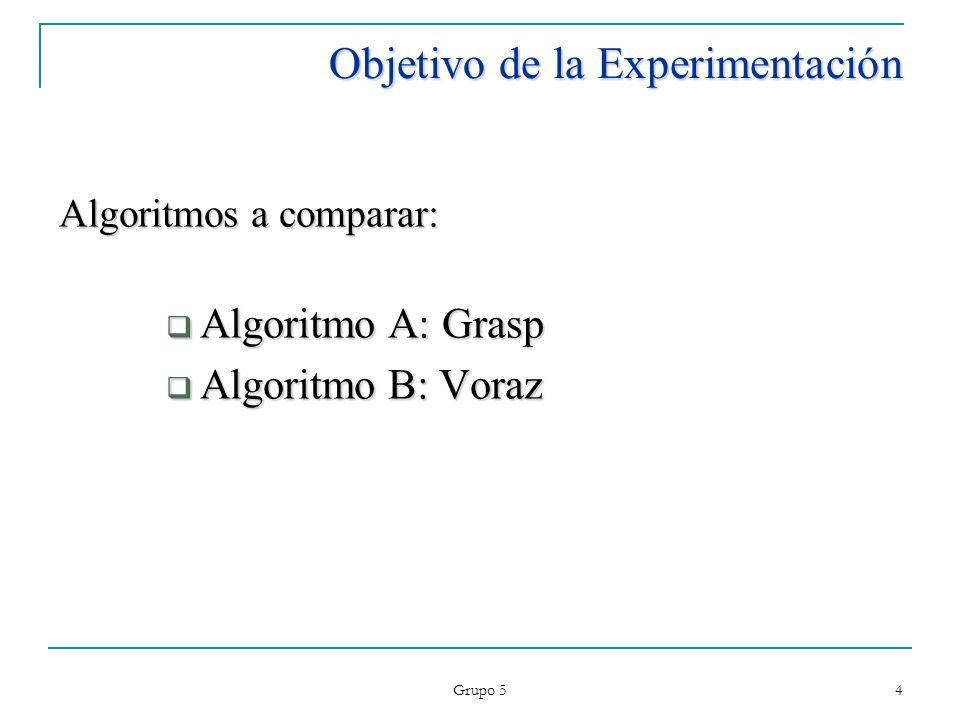 Grupo 5 15 Ejecución del Experimento Software utilizado: NetBeans 6.5 : Desarrollo del los algoritmos SPSS 15.0: Procesamiento de resultados