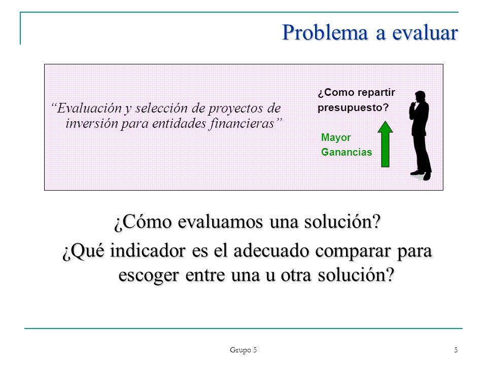 Grupo 5 5 Problema a evaluar Evaluación y selección de proyectos de inversión para entidades financieras Mayor Ganancias ¿Como repartir presupuesto? ¿