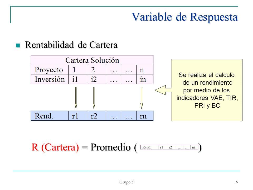 Grupo 5 6 Variable de Respuesta Rentabilidad de Cartera Rentabilidad de Cartera R (Cartera) = Promedio ( ) Se realiza el calculo de un rendimiento por