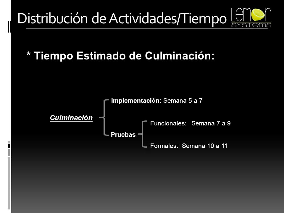 * Tiempo Estimado de Culminación: Distribución de Actividades/Tiempo Culminación Implementación: Semana 5 a 7 Funcionales: Semana 7 a 9 Formales: Sema