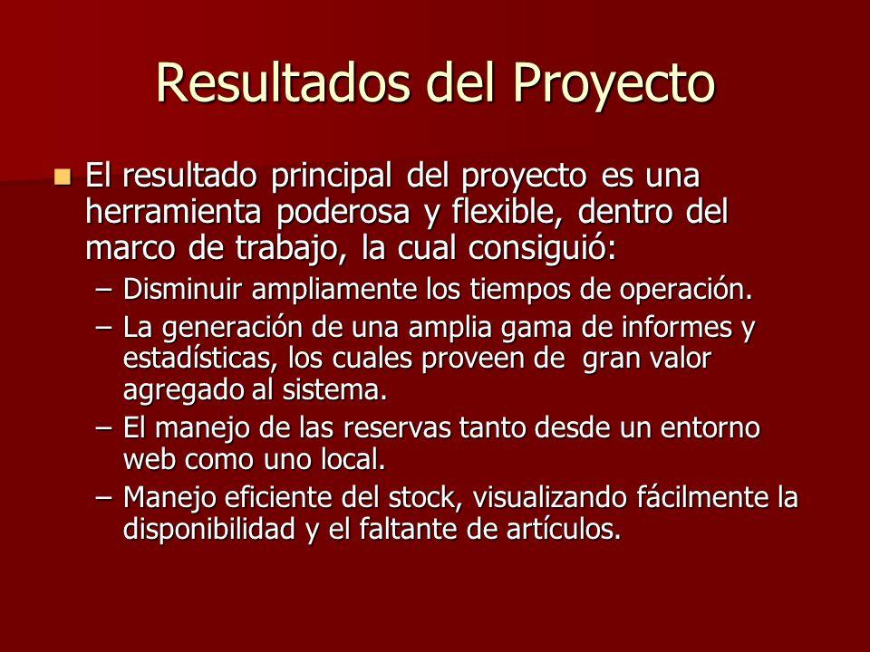 Resultados del Proyecto El resultado principal del proyecto es una herramienta poderosa y flexible, dentro del marco de trabajo, la cual consiguió: El