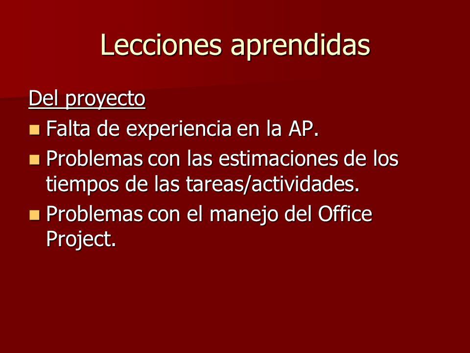 Lecciones aprendidas Del proyecto Falta de experiencia en la AP. Falta de experiencia en la AP. Problemas con las estimaciones de los tiempos de las t