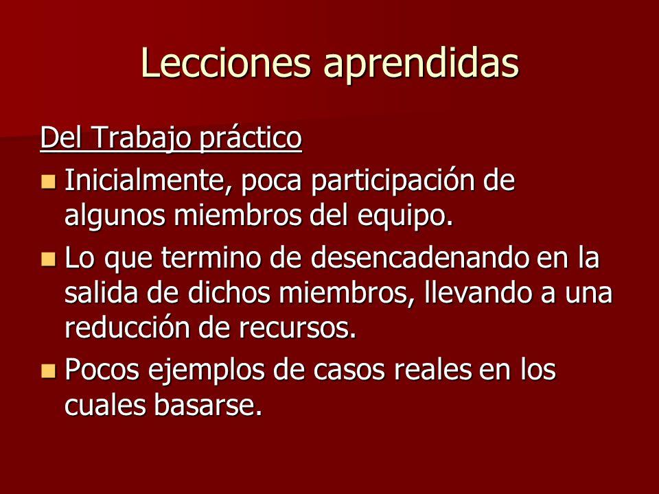 Lecciones aprendidas Del Trabajo práctico Inicialmente, poca participación de algunos miembros del equipo. Inicialmente, poca participación de algunos