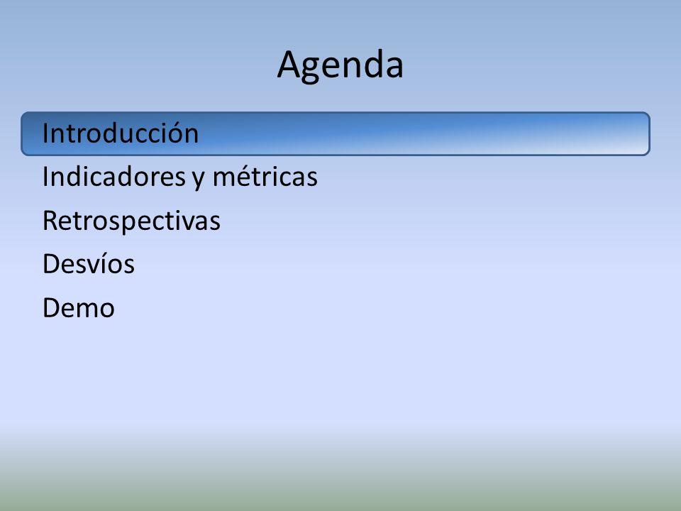 Agenda Introducción Indicadores y métricas Retrospectivas Desvíos Demo
