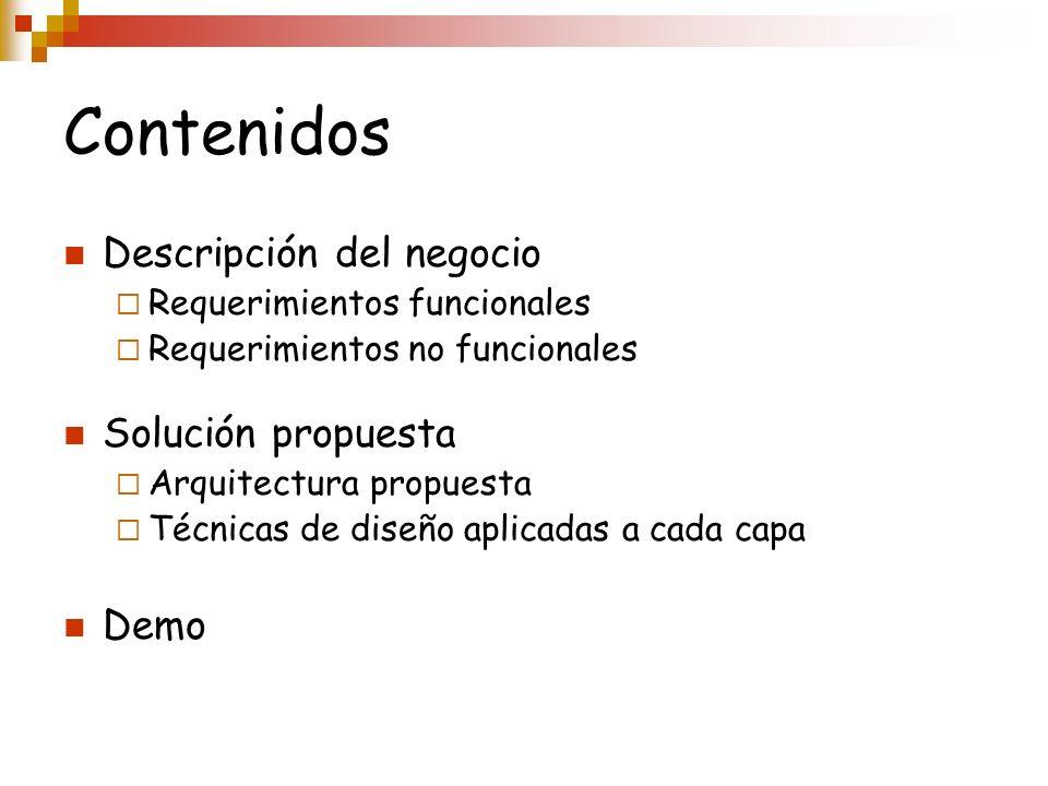 Contenidos Descripción del negocio Requerimientos funcionales Requerimientos no funcionales Solución propuesta Arquitectura propuesta Técnicas de dise