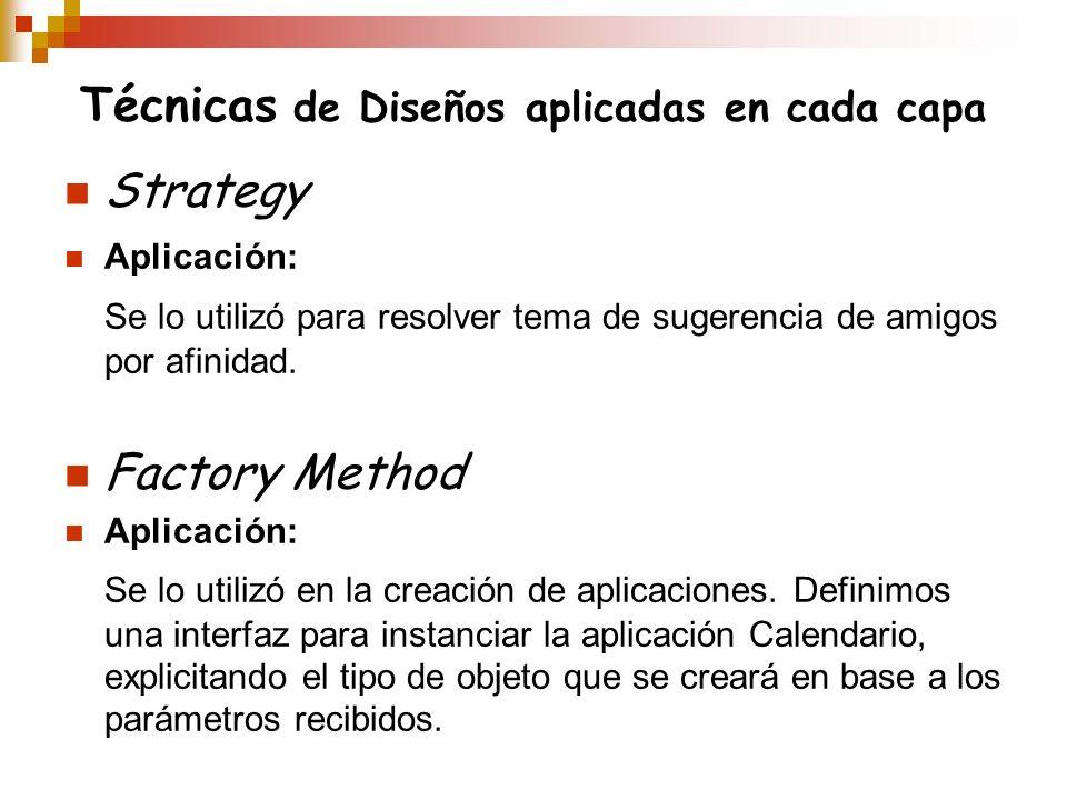 Técnicas de Diseños aplicadas en cada capa Strategy Aplicación: Se lo utilizó para resolver tema de sugerencia de amigos por afinidad. Factory Method