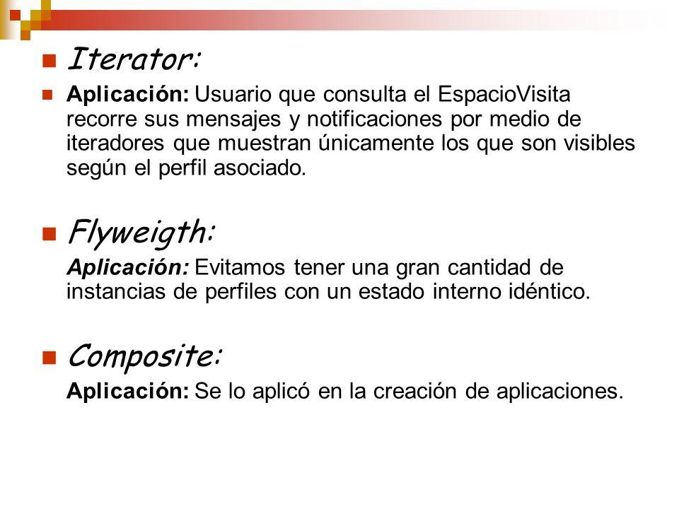 Iterator: Aplicación: Usuario que consulta el EspacioVisita recorre sus mensajes y notificaciones por medio de iteradores que muestran únicamente los