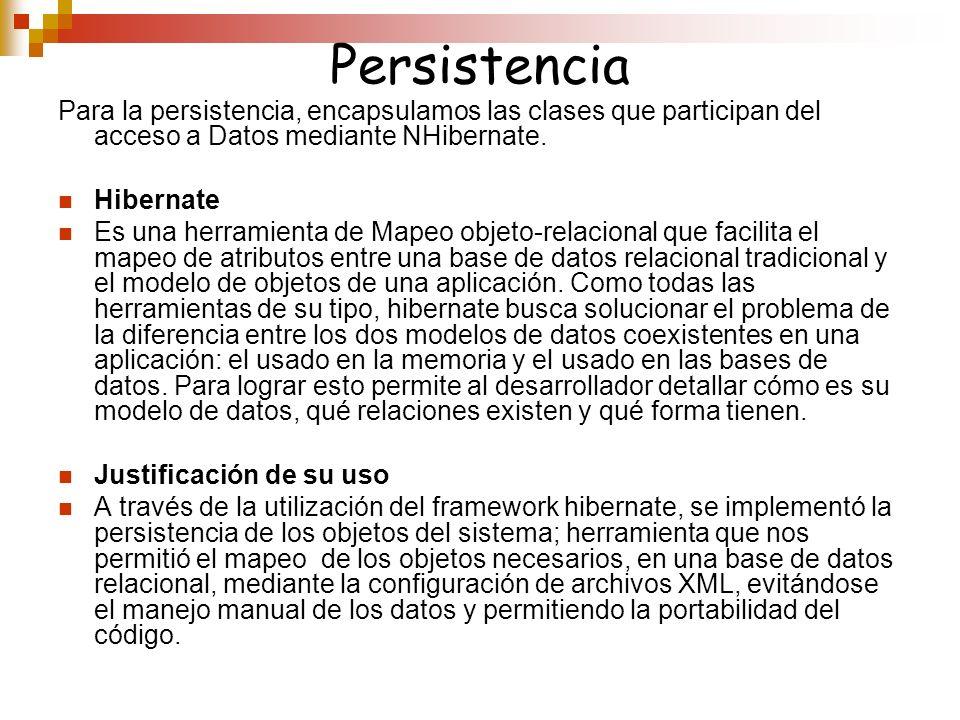 Persistencia Para la persistencia, encapsulamos las clases que participan del acceso a Datos mediante NHibernate. Hibernate Es una herramienta de Mape