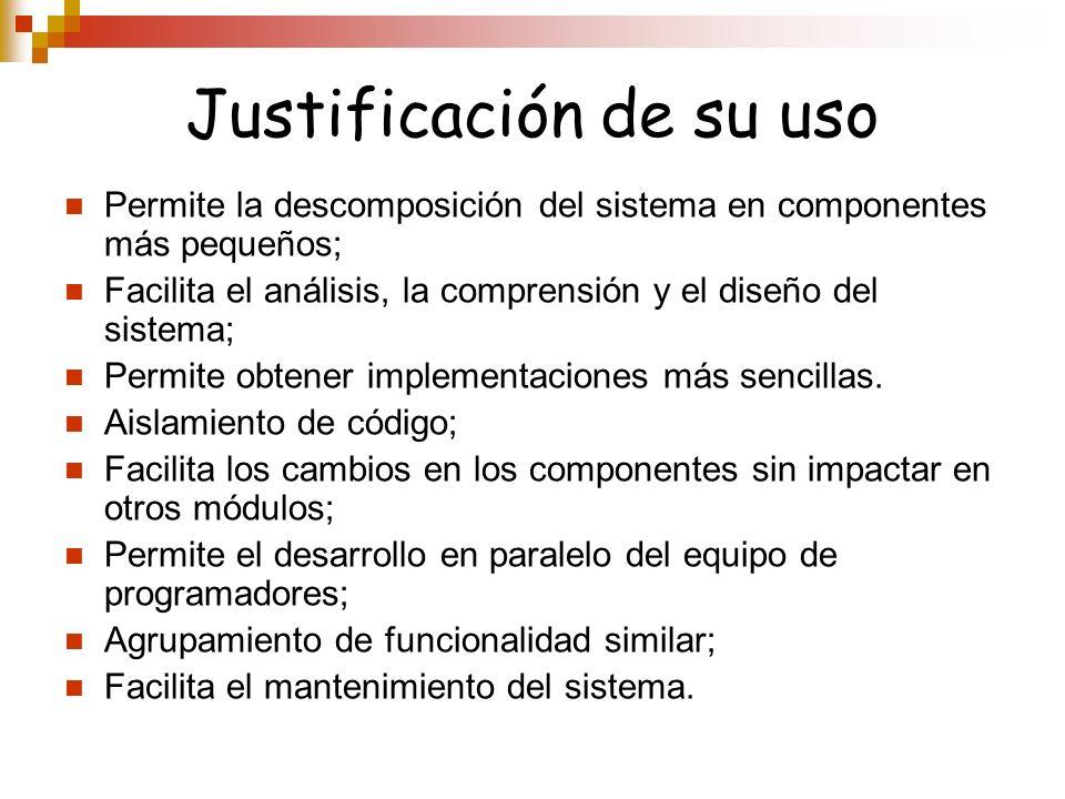 Justificación de su uso Permite la descomposición del sistema en componentes más pequeños; Facilita el análisis, la comprensión y el diseño del sistem