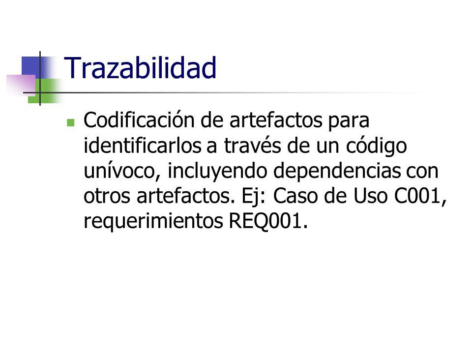 Trazabilidad Codificación de artefactos para identificarlos a través de un código unívoco, incluyendo dependencias con otros artefactos. Ej: Caso de U
