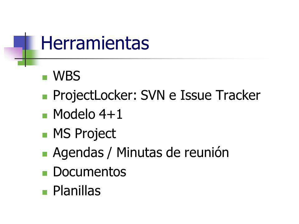 Herramientas WBS ProjectLocker: SVN e Issue Tracker Modelo 4+1 MS Project Agendas / Minutas de reunión Documentos Planillas