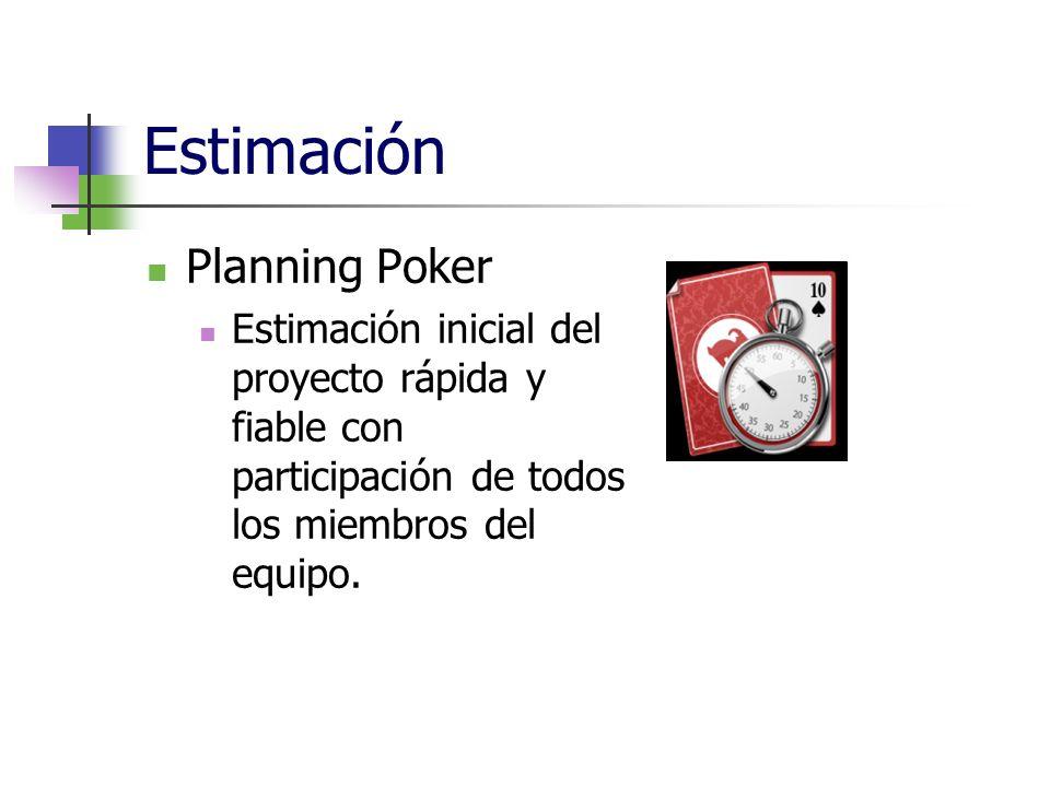 Estimación Planning Poker Estimación inicial del proyecto rápida y fiable con participación de todos los miembros del equipo.