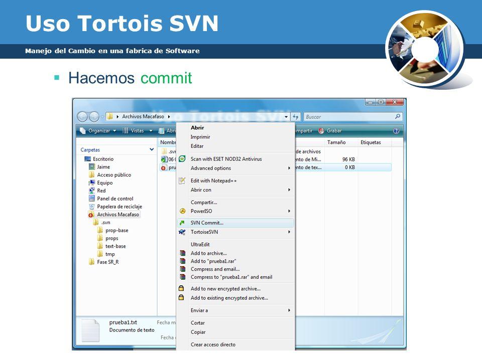 Uso Tortois SVN Manejo del Cambio en una fabrica de Software Hacemos commit