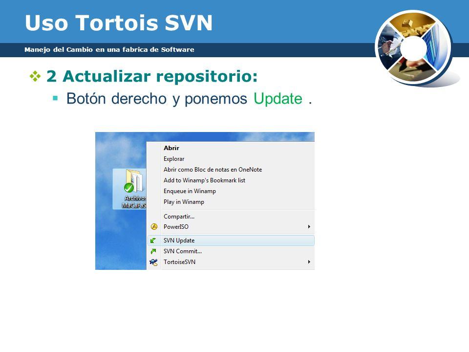 Uso Tortois SVN Manejo del Cambio en una fabrica de Software 2 Actualizar repositorio: Botón derecho y ponemos Update.