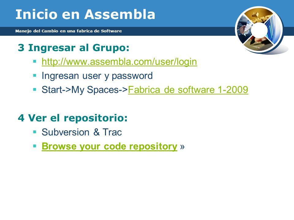 Inicio en Assembla 3 Ingresar al Grupo: http://www.assembla.com/user/login Ingresan user y password Start->My Spaces->Fabrica de software 1-2009Fabric