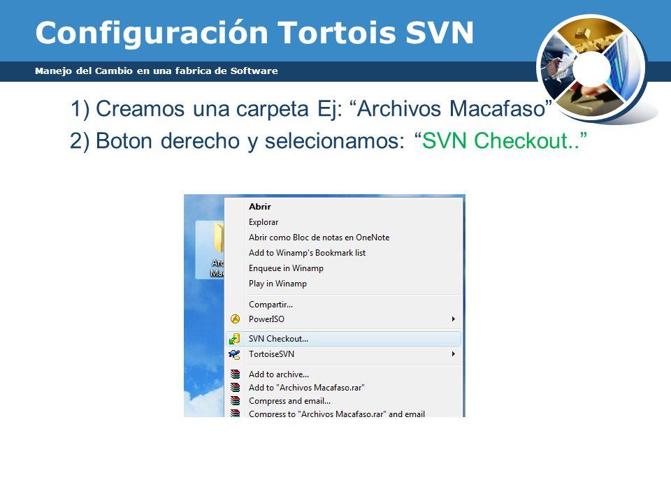 Configuración Tortois SVN 1) Creamos una carpeta Ej: Archivos Macafaso 2) Boton derecho y selecionamos: SVN Checkout.. Manejo del Cambio en una fabric