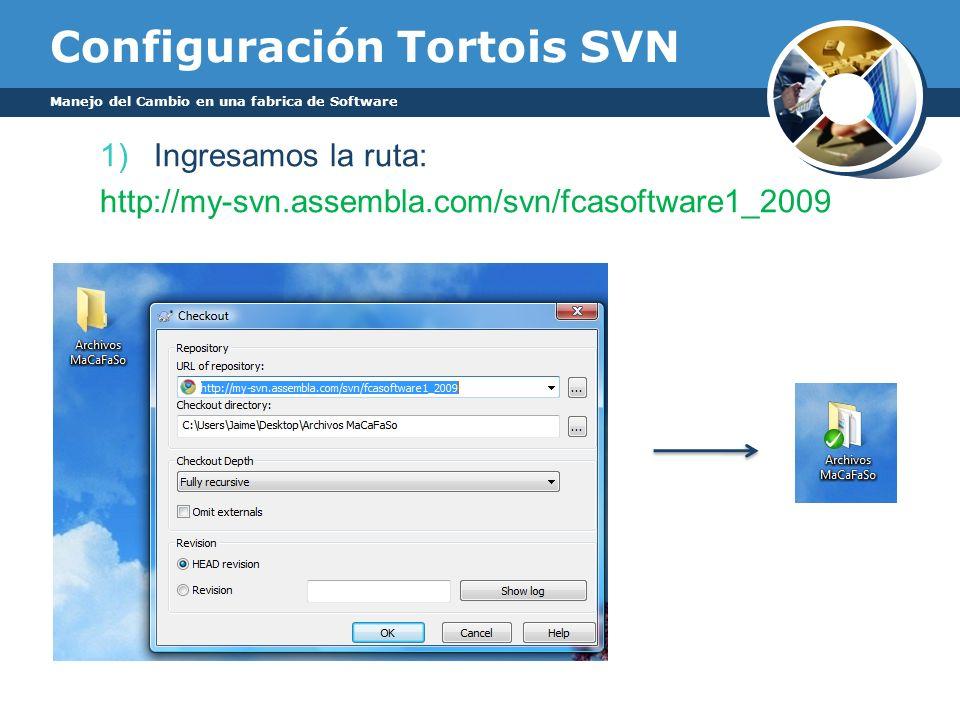 Configuración Tortois SVN 1)Ingresamos la ruta: http://my-svn.assembla.com/svn/fcasoftware1_2009 Manejo del Cambio en una fabrica de Software