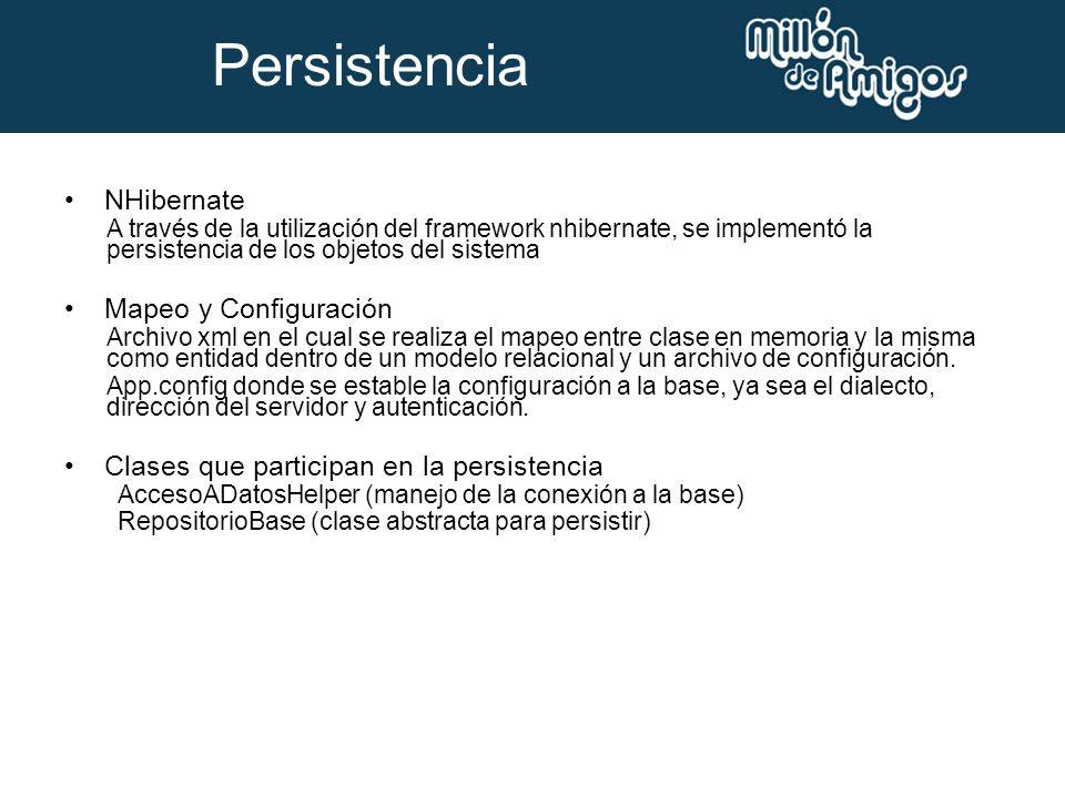 NHibernate A través de la utilización del framework nhibernate, se implementó la persistencia de los objetos del sistema Mapeo y Configuración Archivo