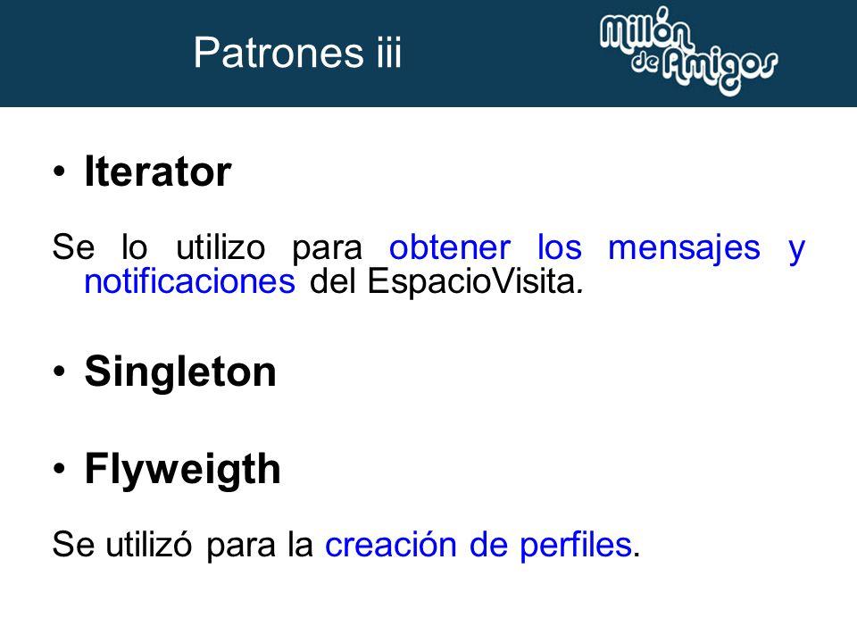Iterator Se lo utilizo para obtener los mensajes y notificaciones del EspacioVisita. Singleton Flyweigth Se utilizó para la creación de perfiles. Patr
