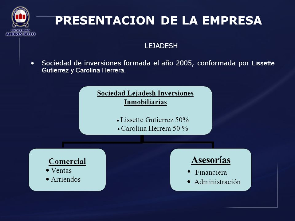 PRESENTACION DE LA EMPRESA LEJADESH Sociedad de inversiones formada el año 2005, conformada por Lissette Gutierrez y Carolina Herrera. Sociedad Lejade