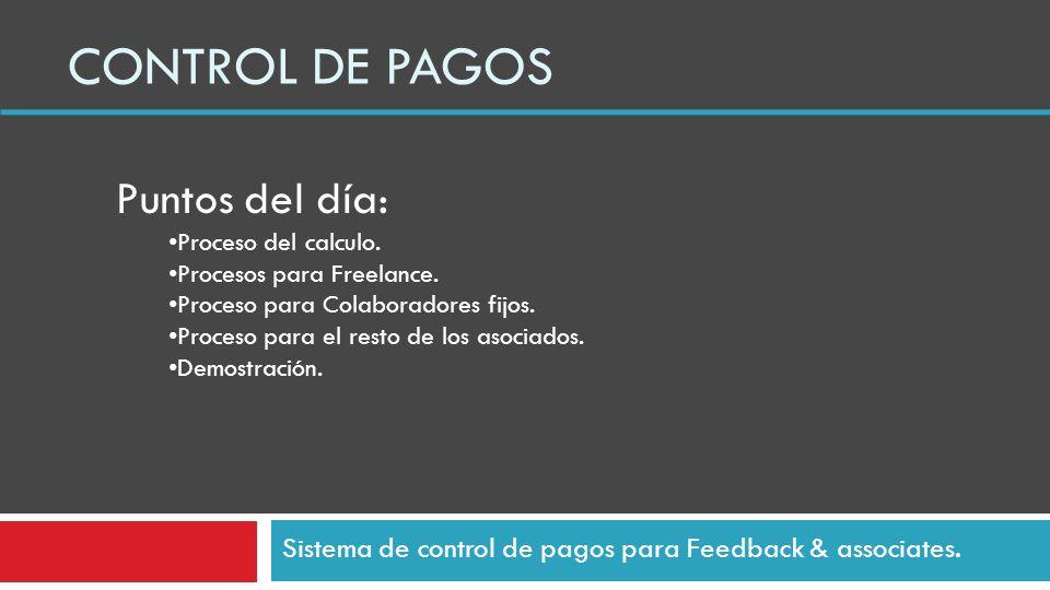 CONTROL DE PAGOS Sistema de control de pagos para Feedback & associates.