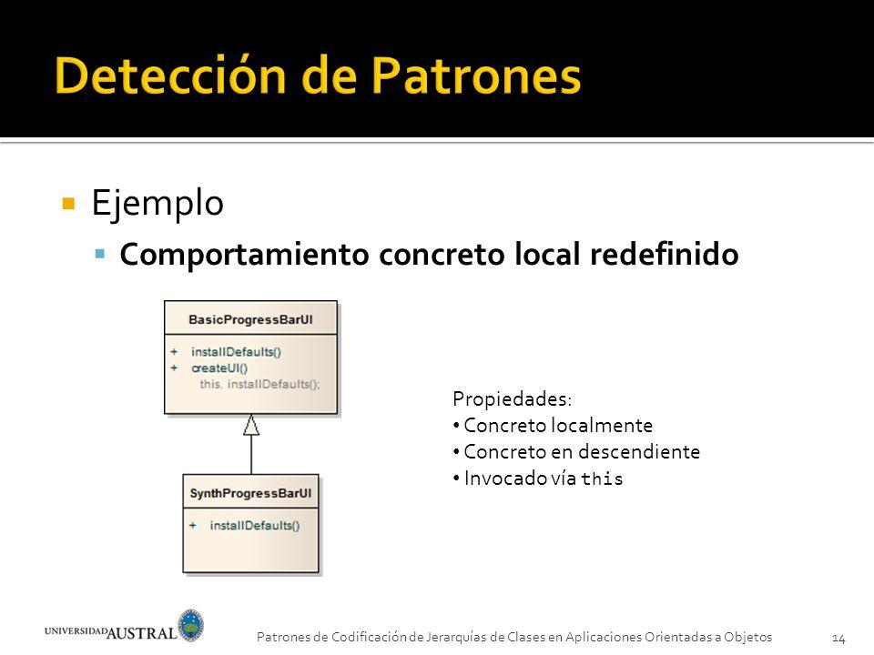 Ejemplo Comportamiento concreto local redefinido Patrones de Codificación de Jerarquías de Clases en Aplicaciones Orientadas a Objetos14 Propiedades:
