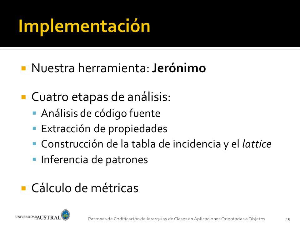 Nuestra herramienta: Jerónimo Cuatro etapas de análisis: Análisis de código fuente Extracción de propiedades Construcción de la tabla de incidencia y