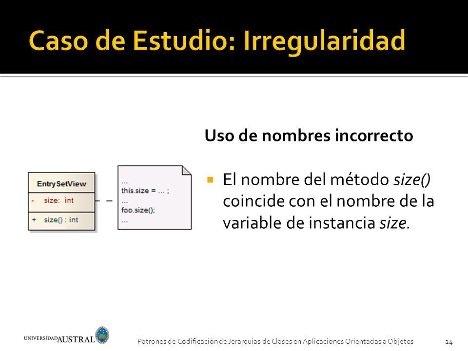 Uso de nombres incorrecto El nombre del método size() coincide con el nombre de la variable de instancia size. Patrones de Codificación de Jerarquías