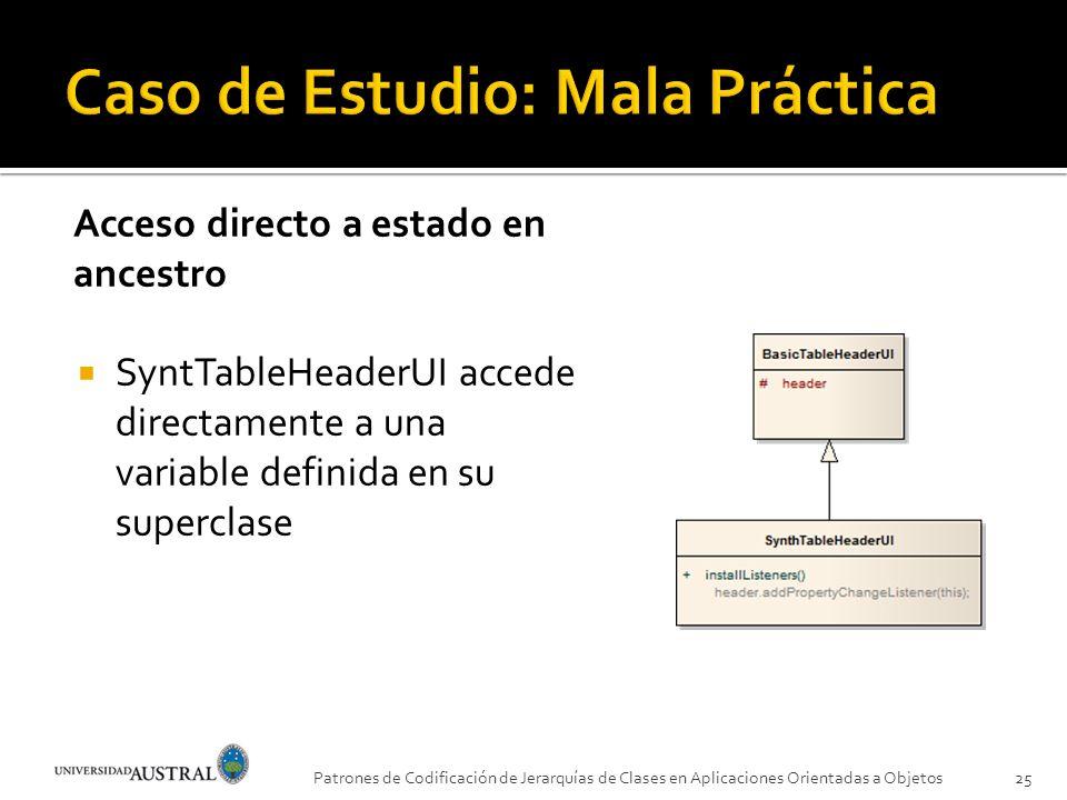 Acceso directo a estado en ancestro SyntTableHeaderUI accede directamente a una variable definida en su superclase Patrones de Codificación de Jerarqu