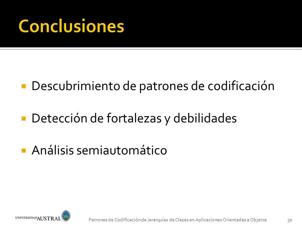 Descubrimiento de patrones de codificación Detección de fortalezas y debilidades Análisis semiautomático Patrones de Codificación de Jerarquías de Cla