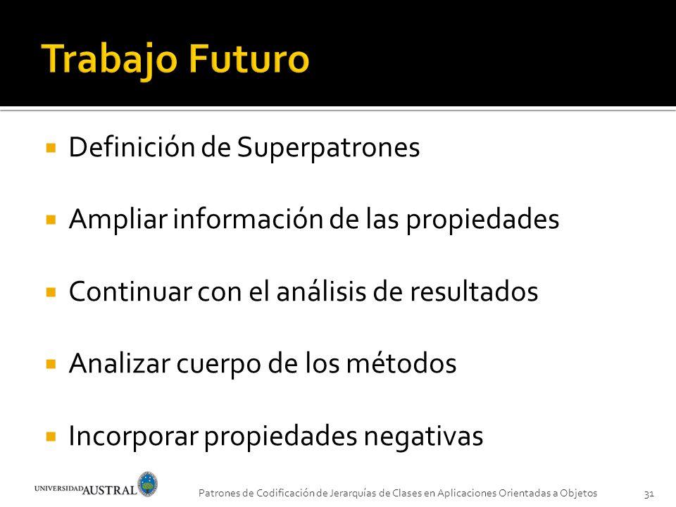 Definición de Superpatrones Ampliar información de las propiedades Continuar con el análisis de resultados Analizar cuerpo de los métodos Incorporar p