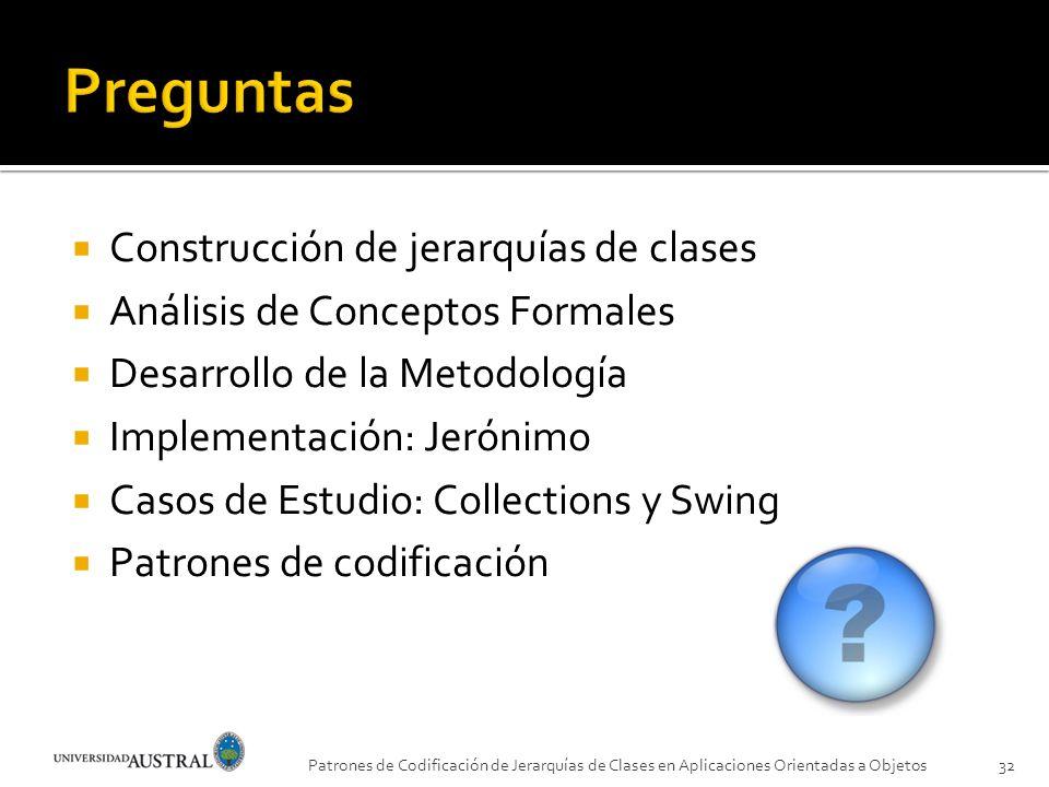 Patrones de Codificación de Jerarquías de Clases en Aplicaciones Orientadas a Objetos32 Construcción de jerarquías de clases Análisis de Conceptos For
