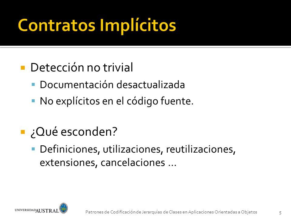 Detección no trivial Documentación desactualizada No explícitos en el código fuente. ¿Qué esconden? Definiciones, utilizaciones, reutilizaciones, exte