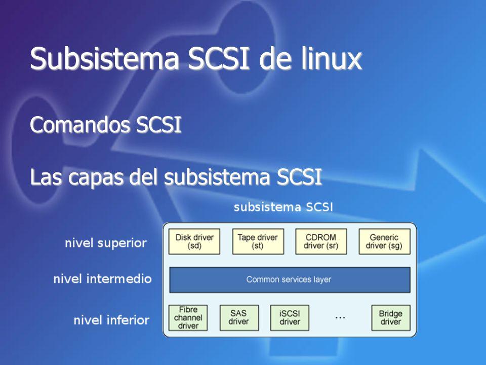 Subsistema SCSI de linux Comandos SCSI Las capas del subsistema SCSI
