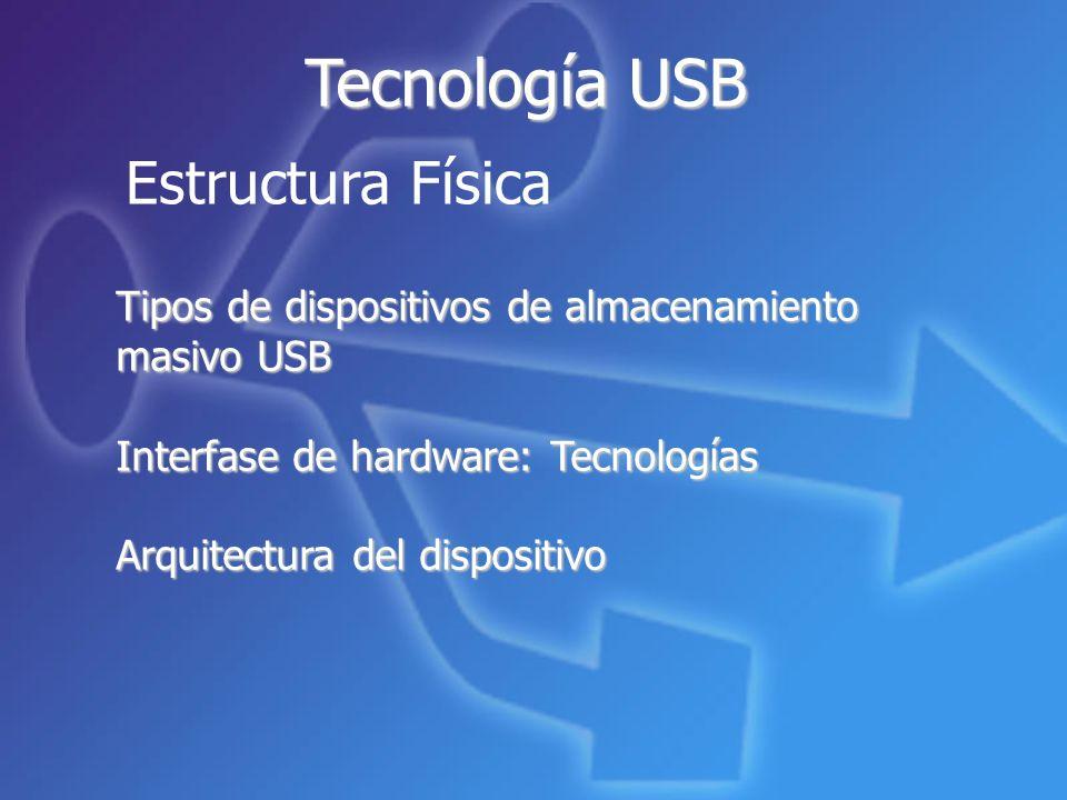Estructura Física Tecnología USB Tipos de dispositivos de almacenamiento masivo USB Interfase de hardware: Tecnologías Arquitectura del dispositivo