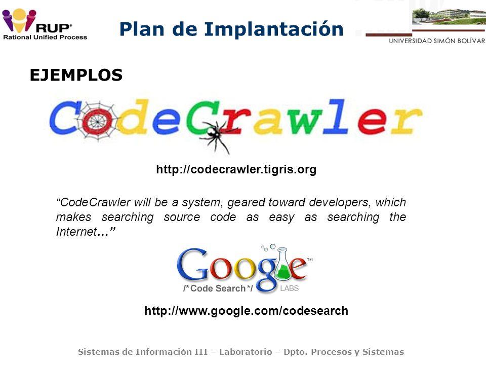 Plan de Implantación Sistemas de Información III – Laboratorio – Dpto. Procesos y Sistemas EJEMPLOS http://codecrawler.tigris.org CodeCrawler will be