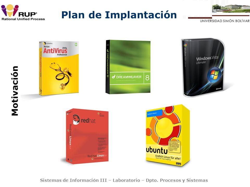 Plan de Implantación Sistemas de Información III – Laboratorio – Dpto. Procesos y Sistemas Motivación