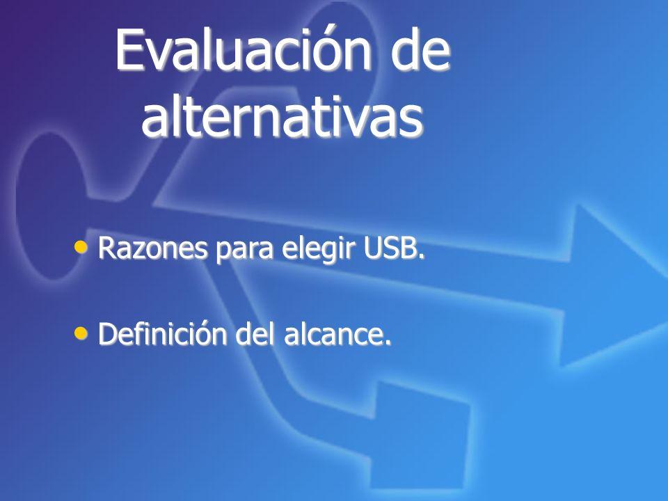 Evaluación de alternativas Razones para elegir USB. Razones para elegir USB. Definición del alcance. Definición del alcance.