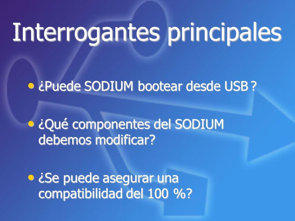 Interrogantes principales ¿Puede SODIUM bootear desde USB? ¿Puede SODIUM bootear desde USB ? ¿Qué componentes del SODIUM debemos modificar? ¿Qué compo