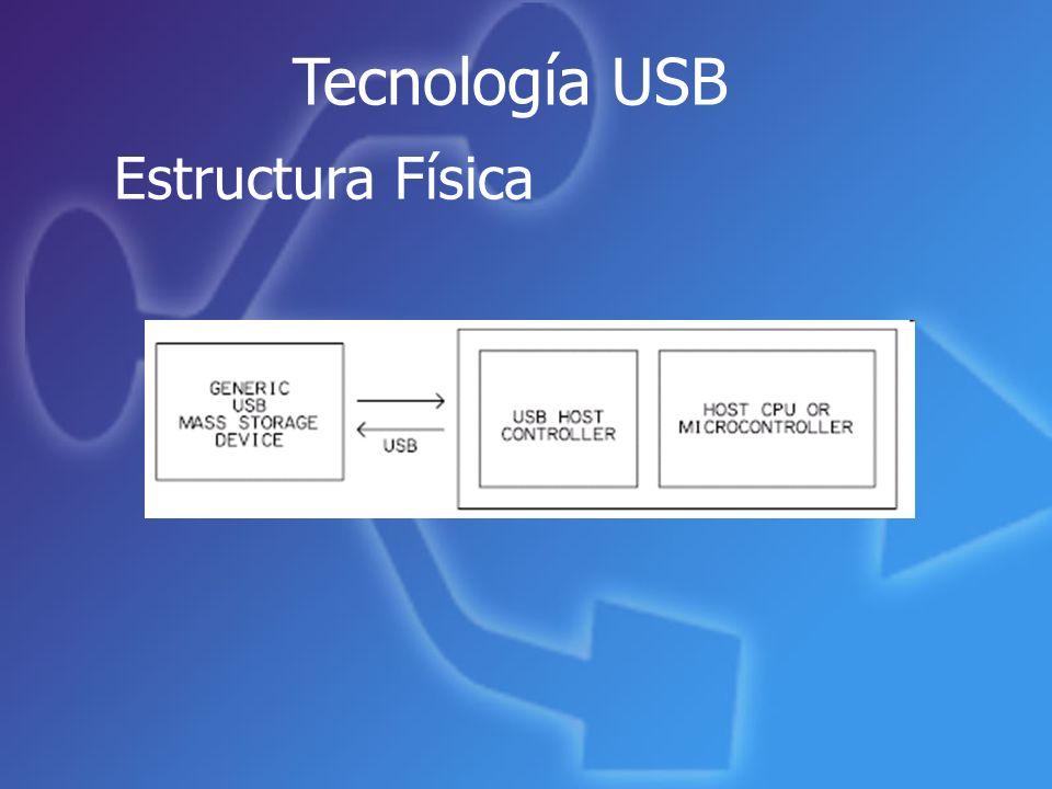 Tecnología USB Estructura Física - NOR Tiempos de lectura rápida Tiempos lentos para borrar y escribir Una densidad baja - NAND Menor costo Ahorro de energía Velocidad de borrado y escritura superior Ejemplos : MLC Multi-Level Cell Tecnología de las memorias Flash:
