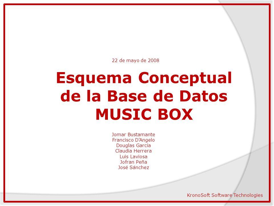 22 de mayo de 2008 Esquema Conceptual de la Base de Datos MUSIC BOX Jomar Bustamante Francisco DAngelo Douglas García Claudia Herrera Luis Laviosa Jof