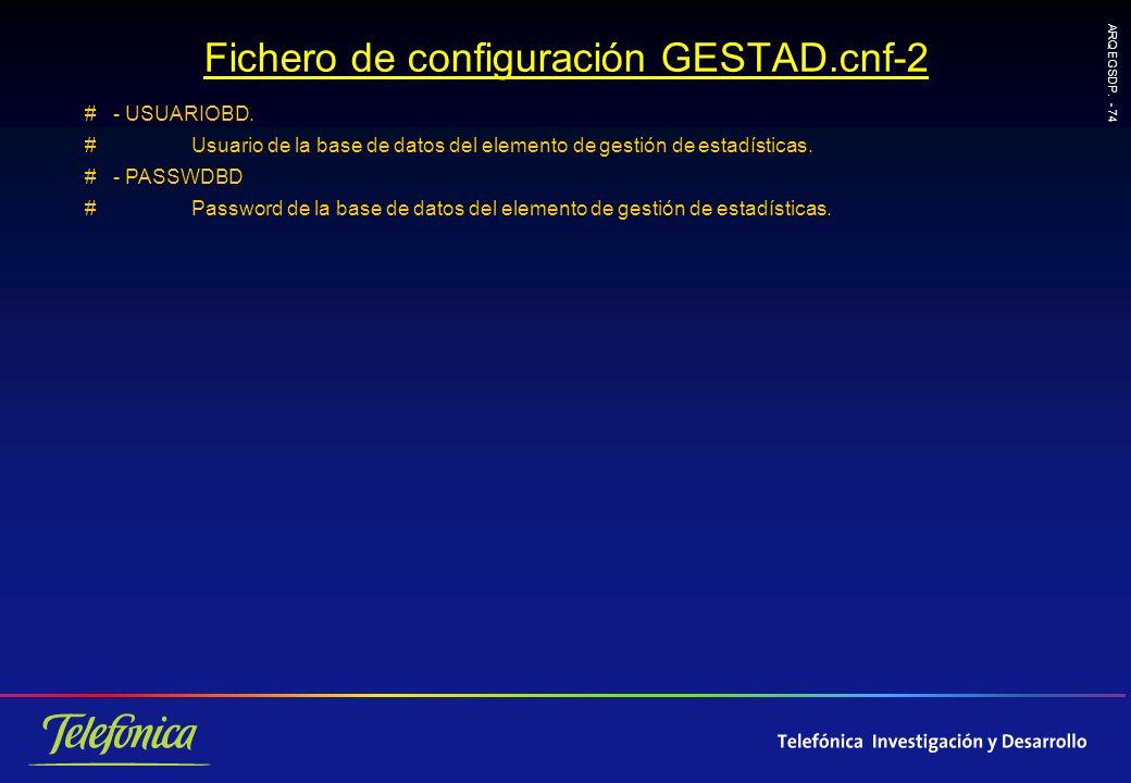 ARQ EGSDP.- 74 Fichero de configuración GESTAD.cnf-2 # - USUARIOBD.