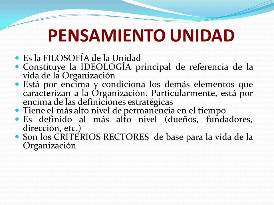 PENSAMIENTO UNIDAD Es la FILOSOFÍA de la Unidad Constituye la IDEOLOGÍA principal de referencia de la vida de la Organización Está por encima y condic