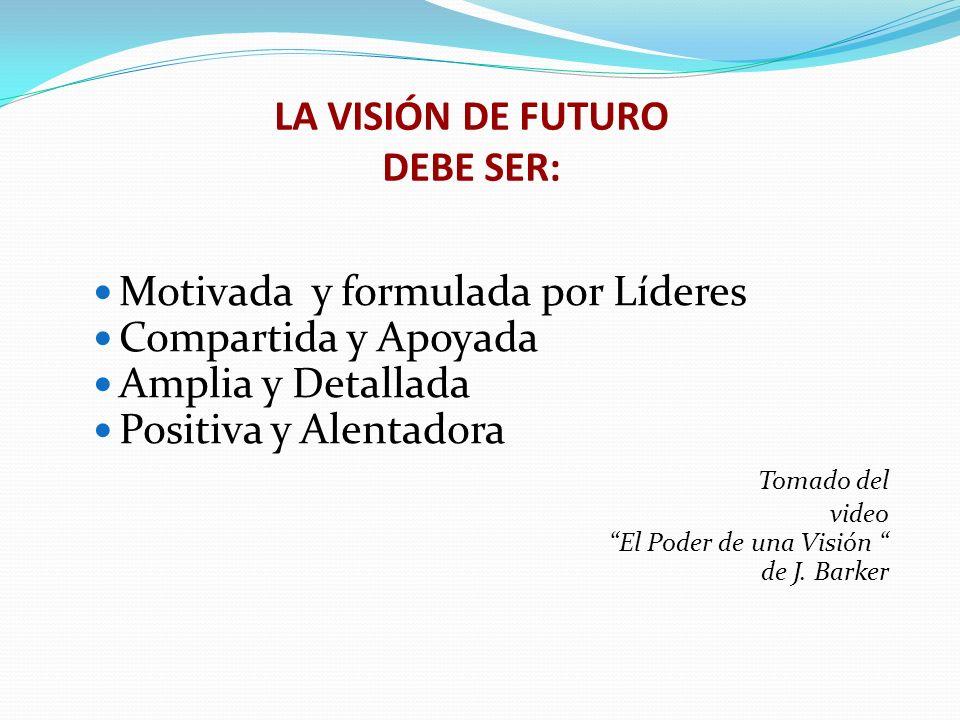LA VISIÓN DE FUTURO DEBE SER: Motivada y formulada por Líderes Compartida y Apoyada Amplia y Detallada Positiva y Alentadora Tomado del video El Poder