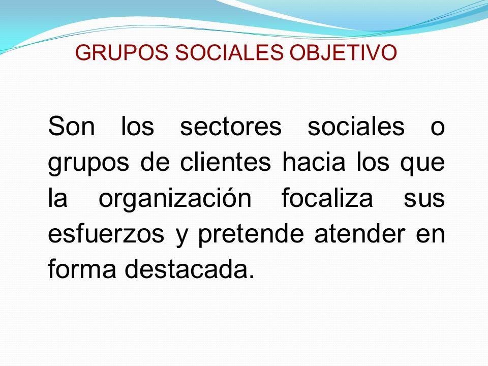 GRUPOS SOCIALES OBJETIVO Son los sectores sociales o grupos de clientes hacia los que la organización focaliza sus esfuerzos y pretende atender en for