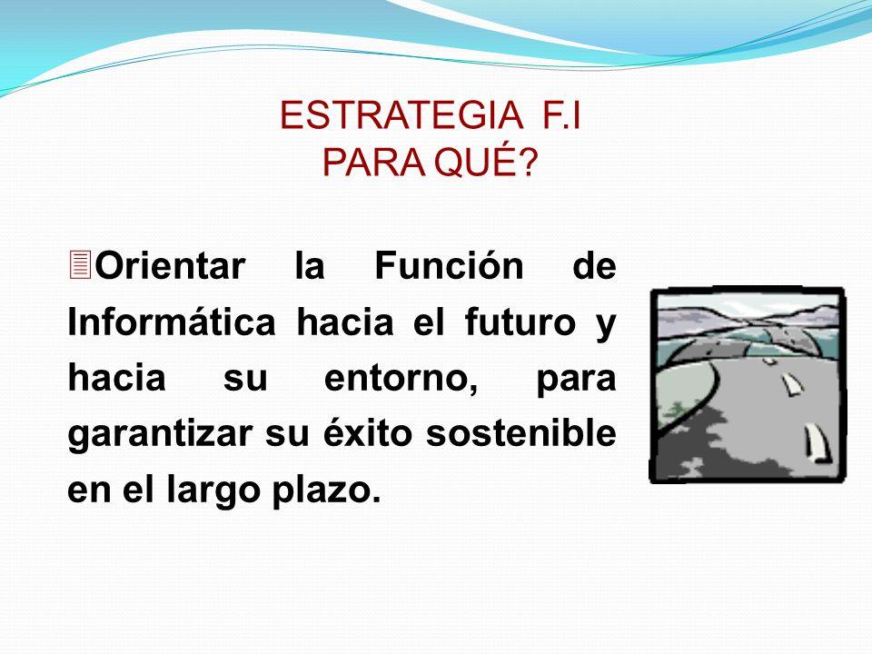 3Orientar la Función de Informática hacia el futuro y hacia su entorno, para garantizar su éxito sostenible en el largo plazo. ESTRATEGIA F.I PARA QUÉ