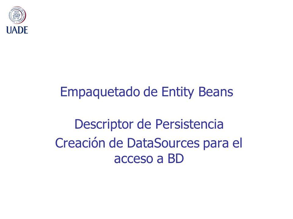 Empaquetado de Entity Beans Descriptor de Persistencia Creación de DataSources para el acceso a BD